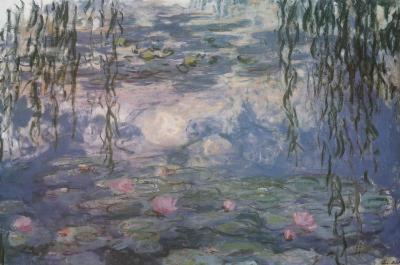 Claude Monet Water Lilies with Clouds Art Poster Print