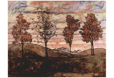 Egon Schiele (Four Trees) Art Poster Print