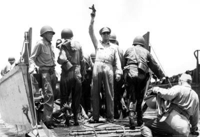 General Douglas MacArthur on Boat Archival Photo Poster Print