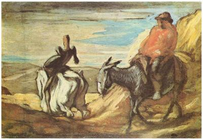 Honoré Daumier (Sancho Panza and Don Quixote in the Mountains) Art Poster Print