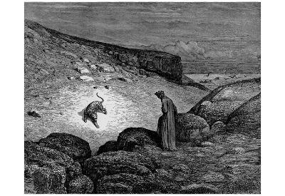 "Gustave Doré (Illustration to Dante's ""Divine Comedy,"" Inferno - Dante and Leopard) Art Poster Prin"
