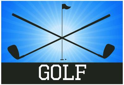 Golf Blue Sports Poster Print