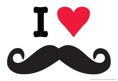 I Heart Love Mustaches Funny Poster
