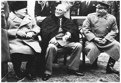 Leaders of World War 2 (Winston Churchill, Franklin Roosevelt, Stalin) Archival Photo Poster