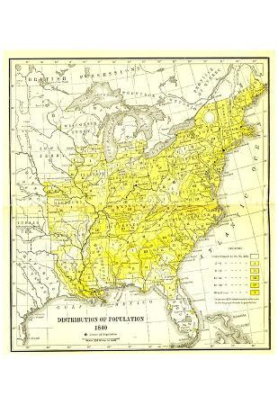 Map of United States (Distribution of Population, 1840) Art Poster Print