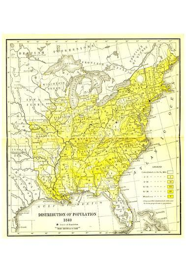 Map Of United States Distribution Of Population 1840 Art Poster - Us-map-1840