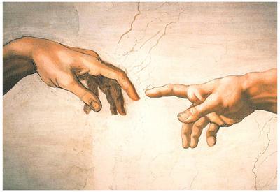Michelangelo Creation of Adam Detail Sistine Chapel Art Print Poster
