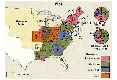 Map of United States (Presidential Election, 1824) Art Poster Print