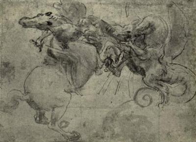 Leonardo da Vinci (Dragon Fight) Art Poster Print