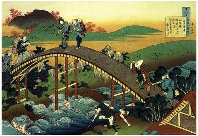 Katsushika Hokusai Travelers on the Bridge Near the Waterfall of Ono Art Poster Print