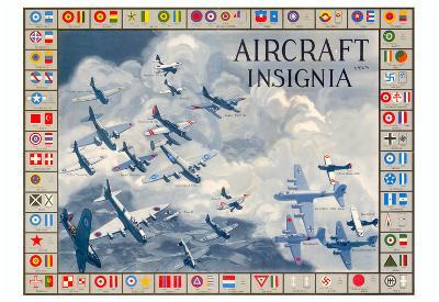 Military Planes of the World Aircraft Insignia WWII War Propaganda Art Print Poster