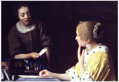 Johannes Vermeer Lady Maidservant Holding Letter Art Print Poster