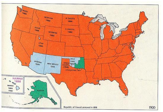Map of United States (Territorial Growth, 1900) Art Poster Print ...