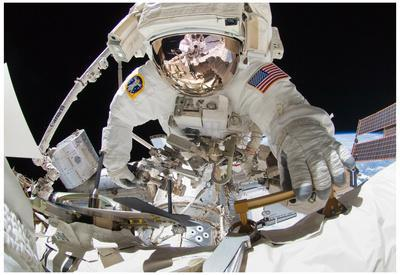 NASA Astronaut Greg Chamitoff at International Space Station Photo Poster