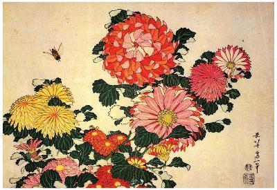 Katsushika Hokusai Chrysanthemums and a Bee Art Poster Print