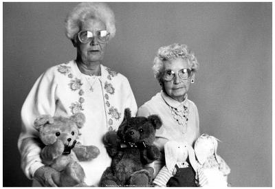 Old Women with Teddy Bears Archival Photo Poster