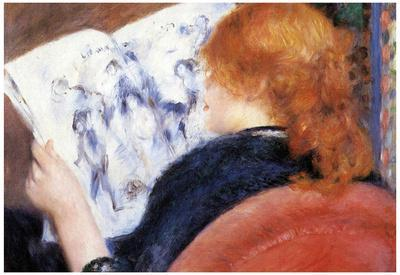 Pierre Auguste Renoir Young Woman Reads Illustrated Journal Art Print Poster