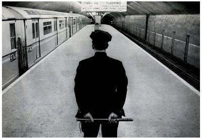 Policeman on New York City Subway Platform Archival Photo Poster Print