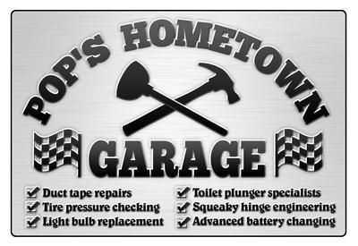 Pop's Hometown Garage Automotive Print Poster