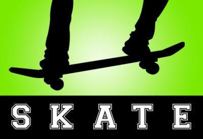 Skateboarding Green Sports Poster Print