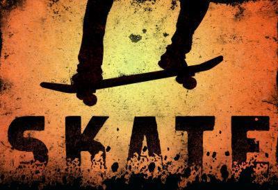 Skateboarding Skate Orange Sports Poster Print