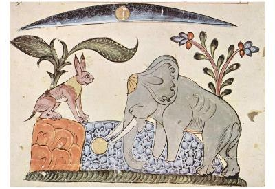 Syrian painter of 1354 (Kalila and Dimma of Bidpai, Scene: The hare and the elephant king in front