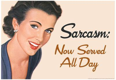 Sarcasm Now Served All Day Funny Poster