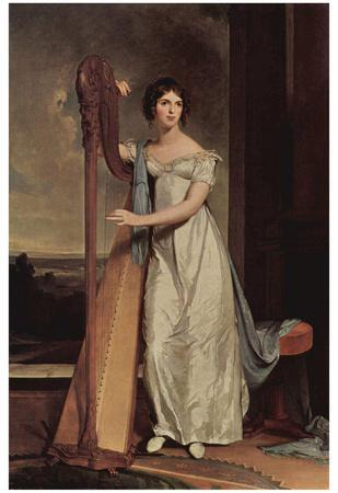 Thomas Sully (Portrait of Eliza Ridgely (The lady with the harp)) Art Poster Print