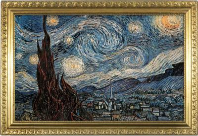 Starry Night Poster with Gilded Faux Frame Border
