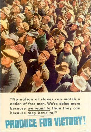 A Nation of Free Men Produce for Victory WWI War Propaganda Art Print Poster