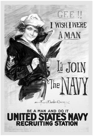 U.S. Navy (I'd Join the Navy, B&W) Art Poster Print