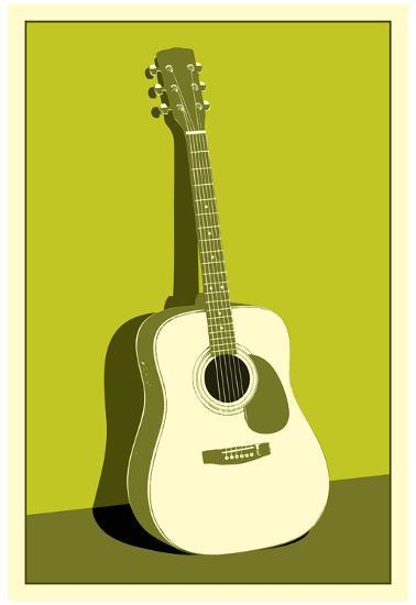 Acoustic Guitar Green Music Poster Print Posters At