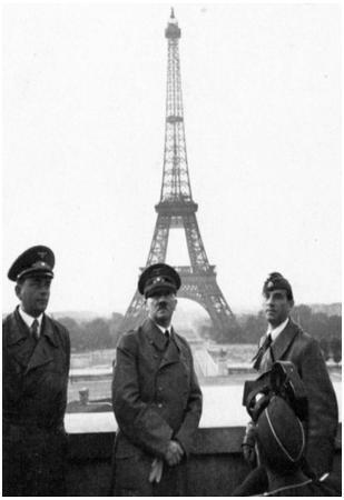 Adolf Hitler in Paris Francew Eiffel Tower Archival Photo Poster Print
