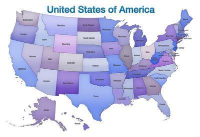 United States of America Map USA Blue Tonal Art Poster Print