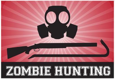 Zombie Hunting Gas Mask Crowbar Shotgun Sports Poster Print