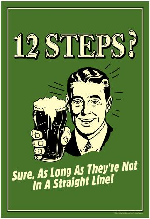 12 Steps Not In A Straight Line Beer Drinking Funny Retro Poster