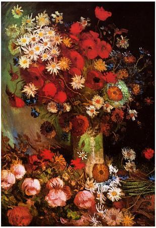 Vincent Van Gogh Vase with Poppies Cornflowers Peonies and Chrysanthemums Art Print Poster