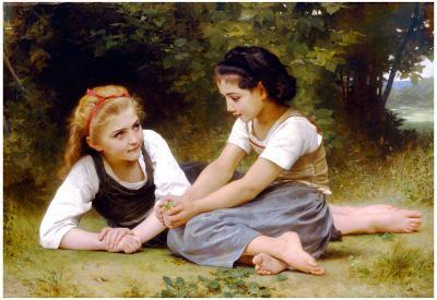 William-Adolphe Bouguereau The Nut Gatherers Art Print Poster