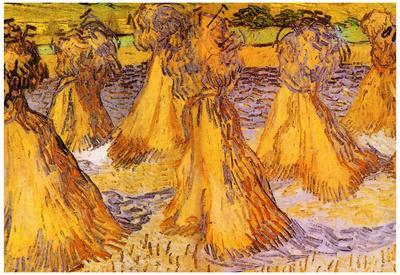 Vincent Van Gogh Field with Stacks of Wheat Art Print Poster