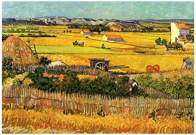 Vincent Van Gogh Harvest at La Crau with Montmajour in the Background Art Print Poster