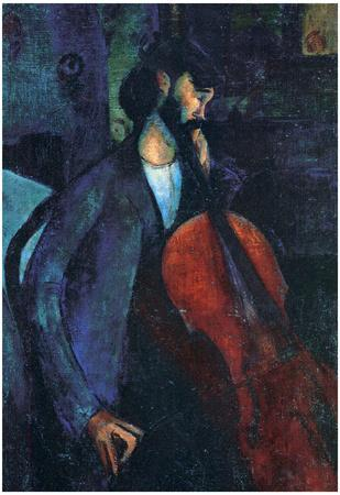 Amadeo Modigliani The Cellist Art Print Poster