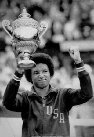 Arthur Ashe Defeats Jimmy Connors Tennis Trophy Archival Photo Sports Poster