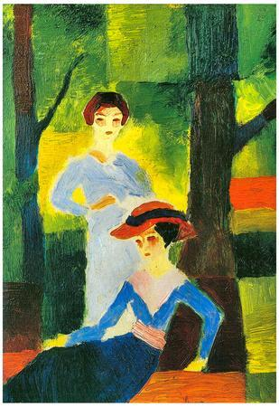 August Macke Two Girls in the Forest Art Print Poster