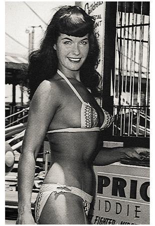 Bettie Page Kiddie Ride Archival Photo Poster Print