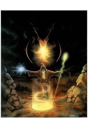 C. B. Pope (Dragon & Wizard) Art Print Poster