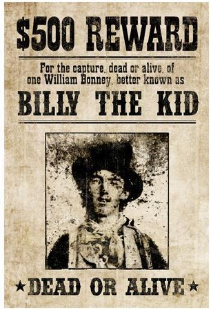 billy the kid western wanted sign print poster print at allposters com