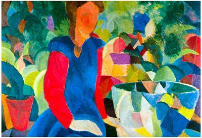 August Macke Girls with Fish Bell Art Print Poster