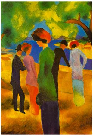 August Macke Lady in a Green Jacket Art Print Poster