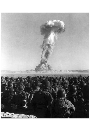 Atomic Bomb Test (Soldiers) Art Poster Print