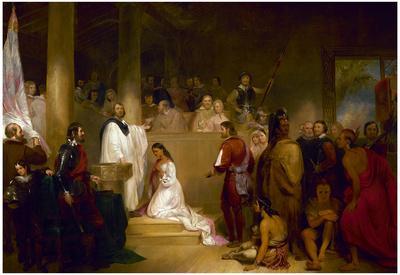 Baptism of Pocahontas Historic Art Print Poster